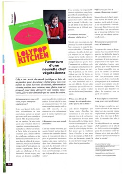 Article dans AlternativesVegetariennes dec 2013